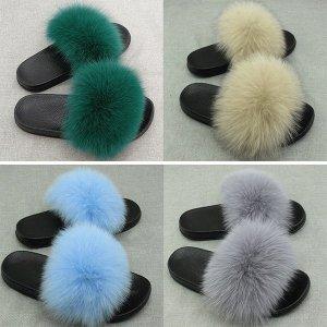 fox fur slides by hlfurs.com