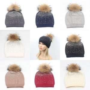 Wholesale knit hat With Fur pompom