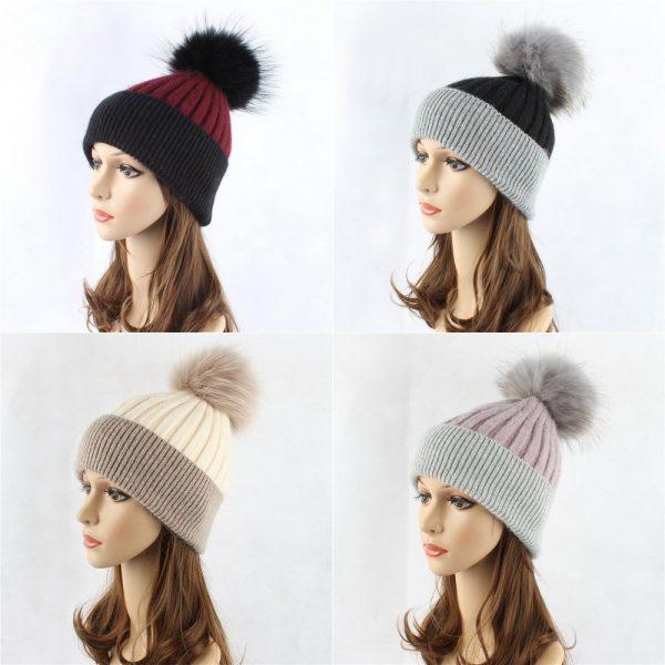 Wholesale Knit Cap Winter Hat Beanie Hat With Fur pompom