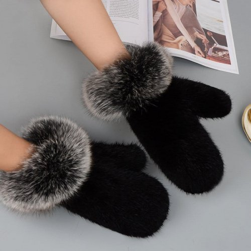 Mink Fur Gloves Fox Fur Cuff Mitten