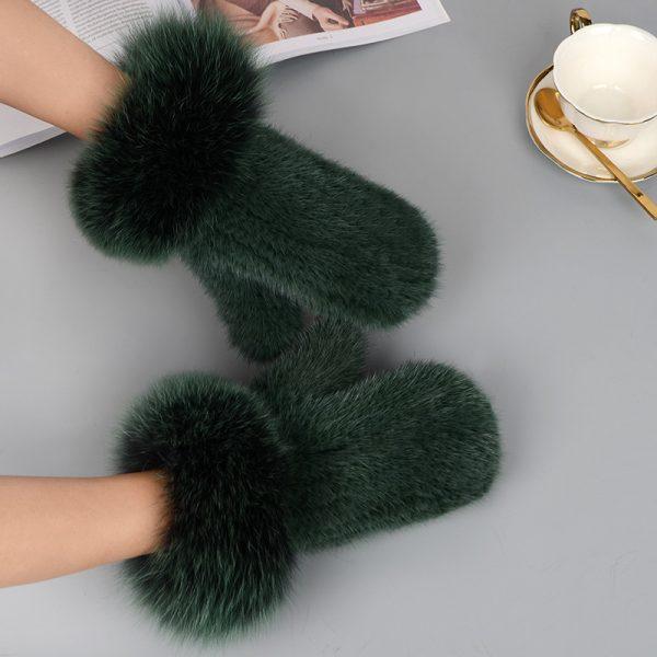 Mink Fur Gloves Fox Fur Cuff Mitten