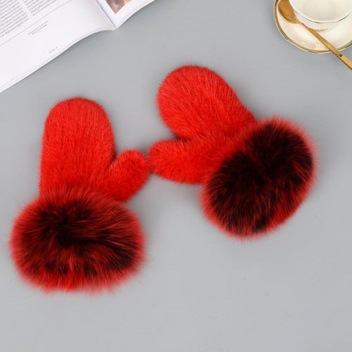 Mink Gloves Fox Cuff