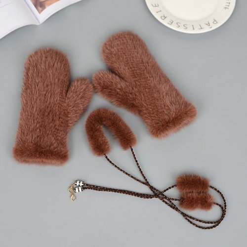 Knit Mink Glove