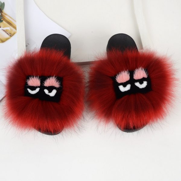 Monster face real fox fur slides wholesale