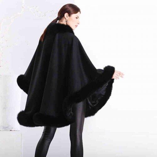 Real Cashmere Fox Fur Poncho HL20W067-2