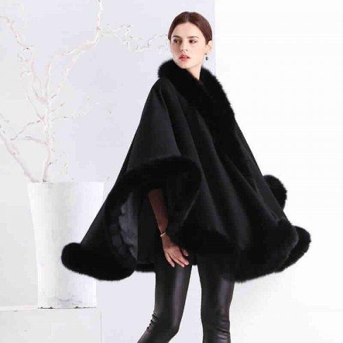 Real Cashmere Fox Fur Poncho HL20W067-4
