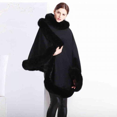 Real Cashmere Fox Fur Poncho HL20W067-7