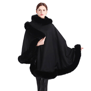 cashmere cape with fox fur poncho on home page