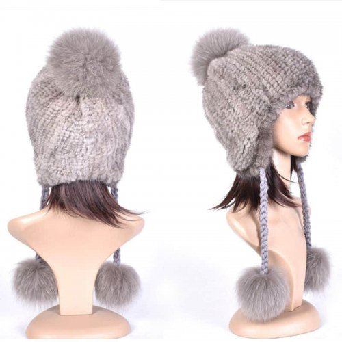 Real Mink Fur Knitted Hat with Three Fox Pompom Wholesale HL20C009