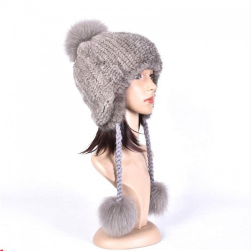 Real Mink Fur Knitted Hat with Three Fox Pompom Wholesale HL20C009-A