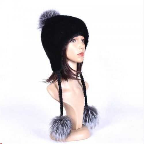 Real Mink Fur Knitted Hat with Three Fox Pompom Wholesale HL20C009-B
