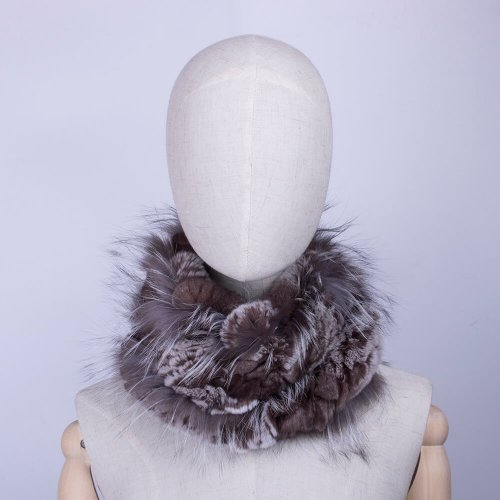 Rex rabbit fur scarf womens fox trim HL20W001-B-