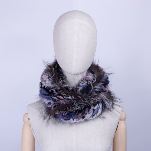 Rex rabbit fur scarf womens fox trim HL20W001-C-