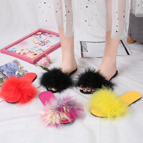 Beautiful Turkey Feather Fur Slippers Real Fur Slides Wholesale HL20X004