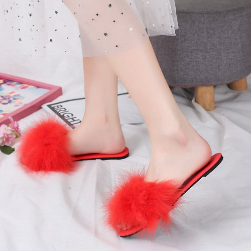 Beautiful Turkey Feather Fur Slippers Real Fur Slides Wholesale HL20X004-A