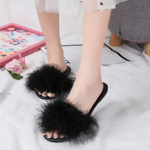 Beautiful Turkey Feather Fur Slippers Real Fur Slides Wholesale HL20X004-B
