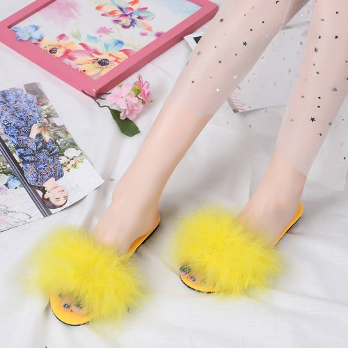 Beautiful Turkey Feather Fur Slippers Real Fur Slides Wholesale HL20X004-C