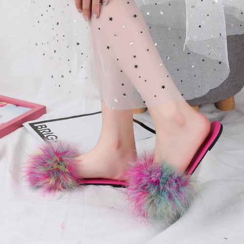 Beautiful Turkey Feather Fur Slippers Real Fur Slides Wholesale HL20X004-D