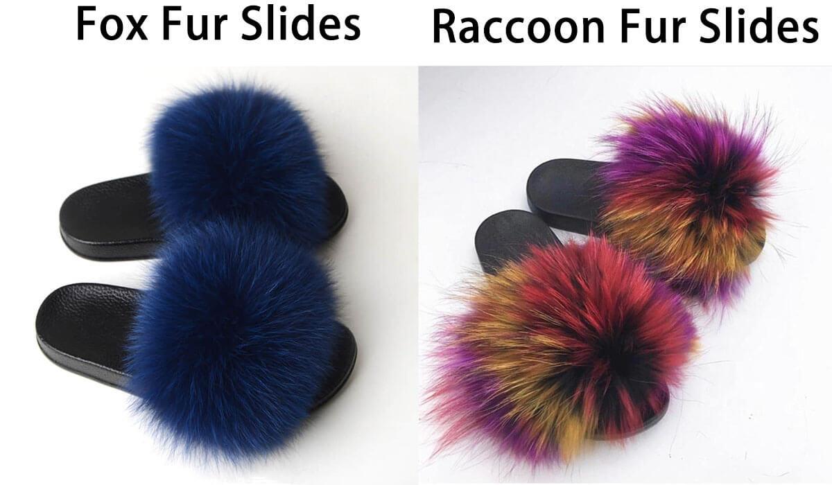 fox fur slides and raccoon fur slides