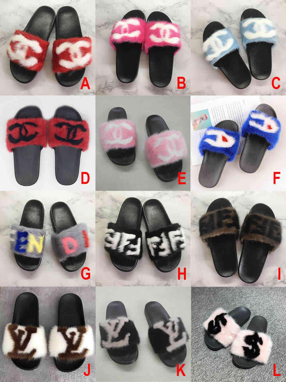 Mink Fur Slides Wholesale LV Gucci